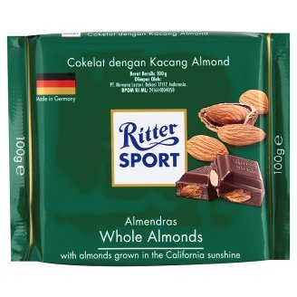 Ritter Sport Milk Chocolate with Whole Almonde 3.53 Ounce (Pack of 2)