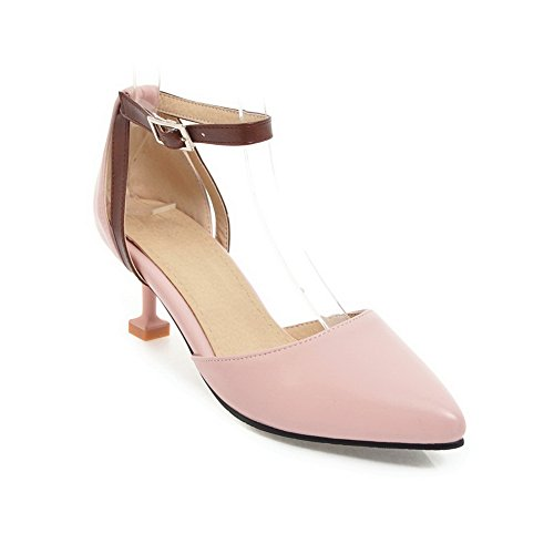 AdeeSu Womens Sandals Closed-Toe Buckle Adjustable-Strap High-Heel Cold Lining Not_Water_Resistant Smooth Leather Cushioning Vinyl Sandals SLC03559 Pink u751K