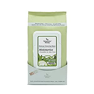 Symphony Beauty Makeup Cleansing Wipes Moisturise-Cucumber and Aloe Vera, 60 Piece