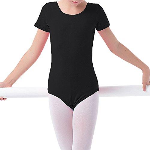 Filles Tfjh Gymnastique Vêtements De Danse De Ballet De Base Robe De Justaucorps Noir D 3-14y
