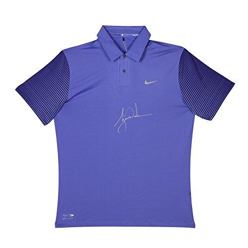 TIGER WOODS Autographed Nike Purple Haze Black Metallic Silver Polo UDA LE ()