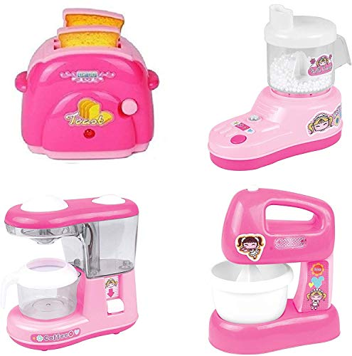 Little Crafts Household Appliance Kitchen Play Set Girls,Mini Dream Kitchen Appliance Play Toy Set for Kids, Set of 4( Juicer, Coffee Maker, Mixer,Toaster (Design May Vary)