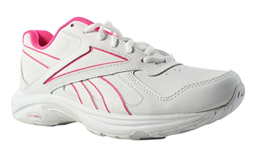 Reebok Women's Walk Ultra V DMX Max Track Shoe, Pr-White/Solar Pink, 8 M US