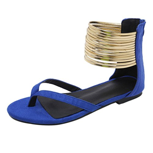 Blue HLHN Heel Women Gladiator Flip Shoes Flat Sandals Ring Toe Clip Low Strap Lady Flops Ankle Casual Vintage Roman Beach HgnxrqH