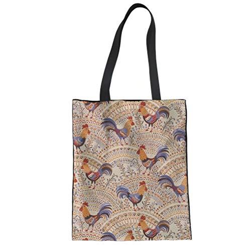 (SANNOVO Student Kids Canvas Tote Bag Fashion Bohemian Rooster Travel Handbag)