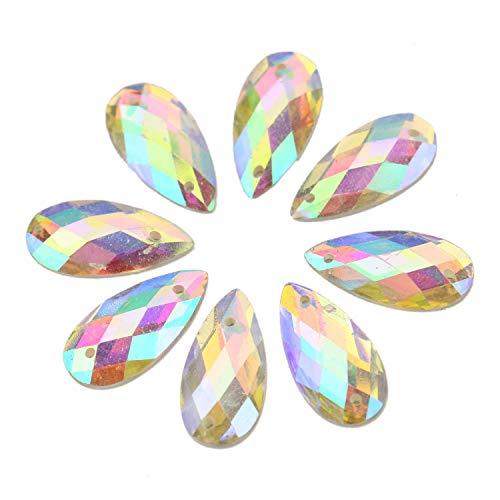 (JETEHO 200PcsTeardrop Crystal AB Sew On Rhinestone Acrylic Sewing Rhinestones Flatback Sew-on Stones for DIY Crafts Handicrafts Clothes Bag Shoes Wholesale)