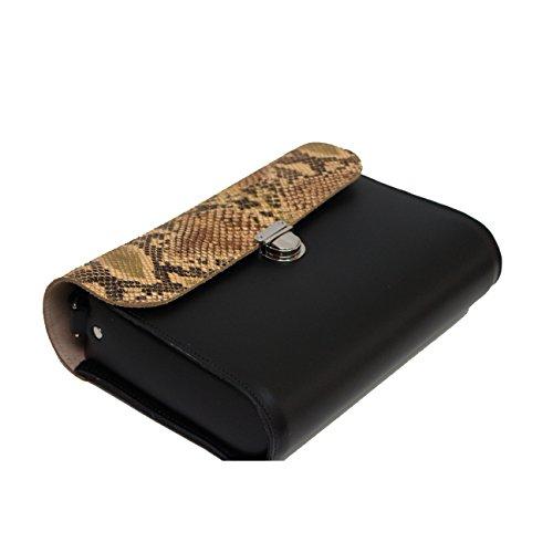 De piel de serpiente de cuero modelado real grande de la taleguilla cuerpo de la cruz del bolso con Cierre con corchetes y correa ajustable Black with Python Snake Print