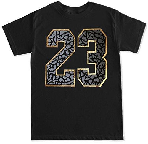FTD Apparel Men's 23 Cement Print Gold T Shirt - Medium Black