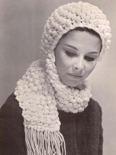 Popcorn Hat With Scarf Crochet Pattern Crocheted Cap Kindle
