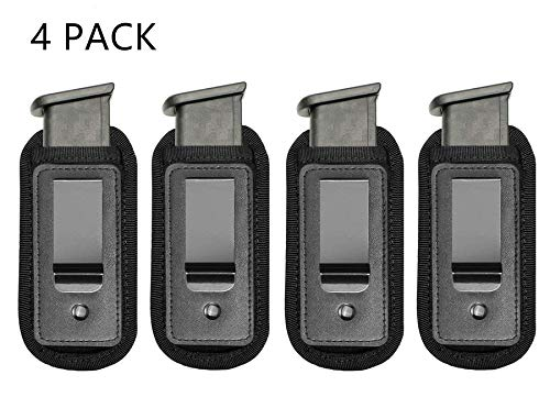 (TACwolf 4 Pack Magazine Pouch IWB Inside Waistband Pistol Handgun for Concealed Carry Universal Single Double Stack Mags for Glock Sig Sauer S&W Springfield XD Ruger 9mm/.45)