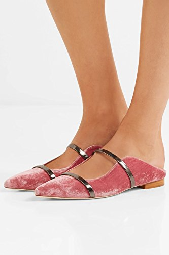 for Two Backless Pointed Comfity Narrow velvet Mules Slides Single Flats Toe Slippers Band Women Dress Pink Yqf5T