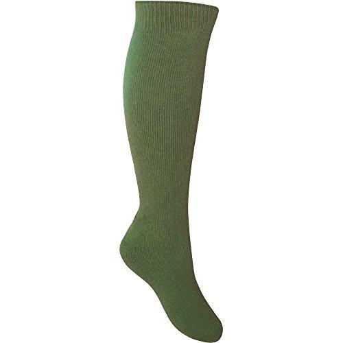 Teddyt's Men's Cushioned Calf Length Gentle Grip Long Wellington Boot Thermal Socks Us Shoe Size 8-13 Olive Green