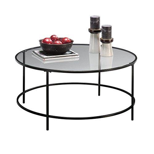 Sauder Soft Modern Round Coffee Table, Black/Clear Glass