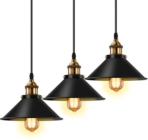 Licperron Industrial Pendant Light E26 E27 Base Vintage Hanging Pendant Lights Retro Pendant Light Fixture Home Kitchen Lighting 3 Pack