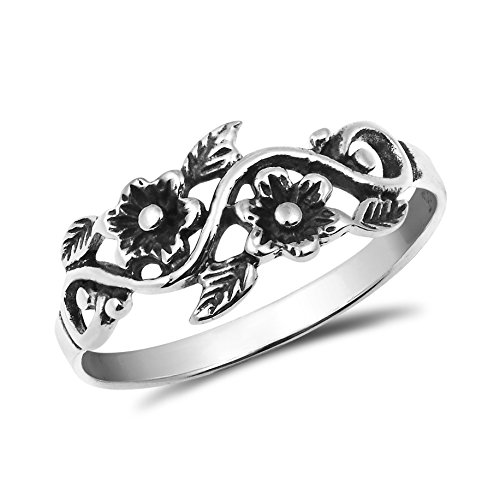 Sterling Silver Flower Vine - Blooming Wild Floral Vine .925 Sterling Silver Band Ring (6)