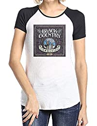 Womens Black Country Communion Fashion Short Sleeve Raglan Sleeve Shirts Black