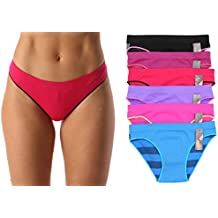 Just Intimates Seamless Bikini Panties With Color Trim Solids & Stripes (6 Pack)