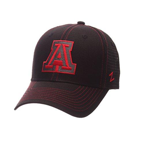 NCAA Arizona Wildcats Adult Men's Staple Trucker Blackout Cap, Adjustable Size, Black ()