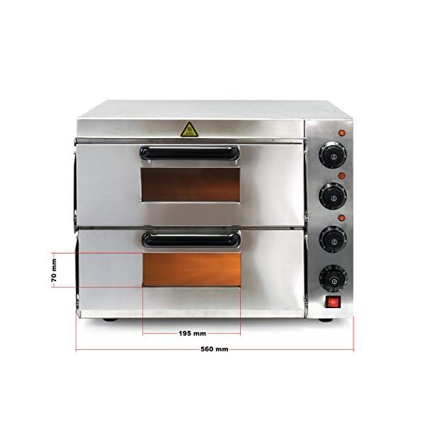 Forno per pizza professionale con doppia camera in acciaio inox, 3000W, 350°C Fornetto elettrico 3