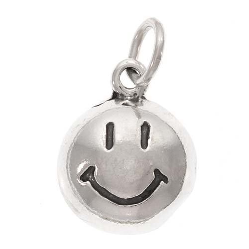 Face Sterling Silver Charm - Beadaholique Sterling Silver Charm, Happy Smiley Face 13mm Round, 1 Piece, Silver