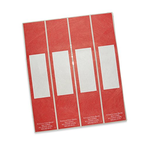 Color-Bands Color Coding File Handles and Labels for Expandable File Pockets and Wallets, Red, 100 per Package (Tyvek Wallet Expandable)