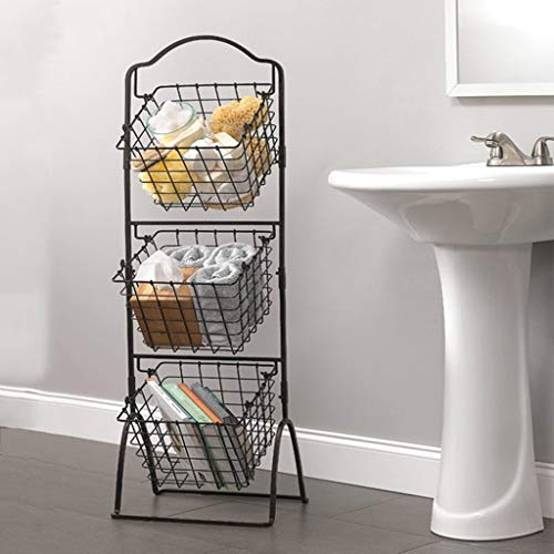 And More Vegetables Household Items Stylish Tiered Stand Baskets For Kitchen Toiletries Brown 3 Tier Brown Metal Wire Market Basket Stand Display Rack For Fruit Bathroom Storage Organization Suzukiescudosale Co Ke