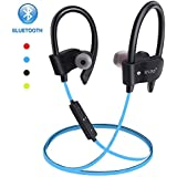 Wireless Bluetooth Earbuds Headphones Waterproof in Ear Flexible Earphone with EarPlug Noise Cancelling Sport Headsets Compatible with iPhone iPad Android Smart Bluetooth Device - Blue
