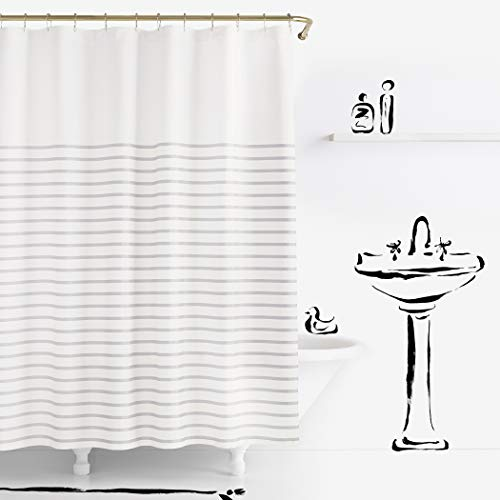 Kate Spade New York Harbour Stripe Platinum Shower Curtain, 72