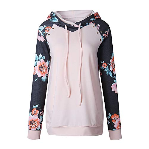 URIBAKE Fashion Women Hoodie Floral Print Long Sleeve Patchwork Spring Hooded Pullover Sweatshirt Blouse Tops ()