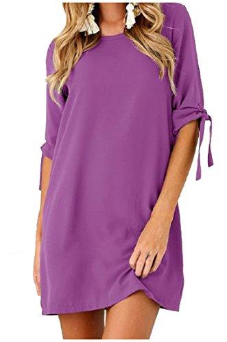 Lacets Ras Du Cou Des Femmes Coolred Robe Élégante Solide Courte Pull-over Violet
