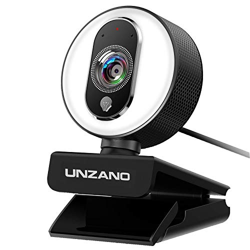 HD Webcam 1080P for Streaming with Ring Light, External Computer Web Camera with Dual Microphone, Autofocus Camera for…