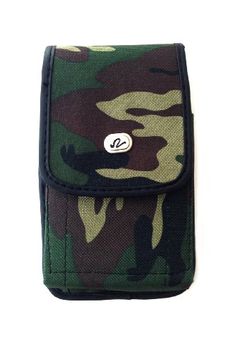 Army Camouflage Style Vertical Nylon Pouch with Metal Belt Clip Fits Samsung Galaxy Note 1 / Note 2 / Note 3 with Otterbox Commuter Defender Case Extended Battery Case Ballistic Case or Any Hybrid Rugged Armor Case on -  NN