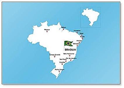 Amazon.com: Map Of Brazil With Major Cities - Classic Fridge ...