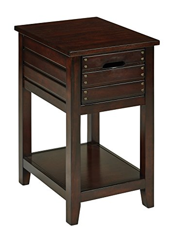 Office Star Camille Solid Wood and Veneer Side Table with Storage Drawer, Walnut Finish