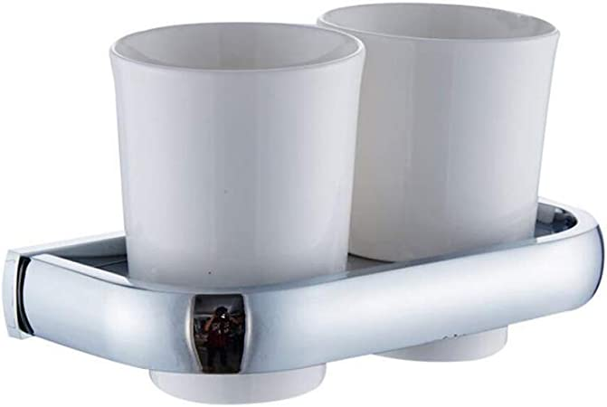 Usopu Modernes Chrom Kupfer Badezimmer Zubeh/ör Zahnputzbecher Halter Doppeltes
