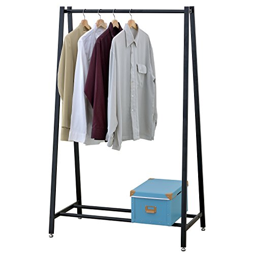 Clothing Garb - Modern Freestanding Metal Clothing and Garment Storage Rack Hang Rail, Black