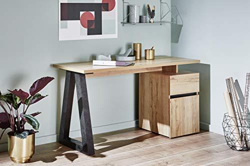 Marque Amazon –Movian Stanberg – Bureau à 1 tiroir et 1 porte, 140x55x76cm, Finition chêne/béton