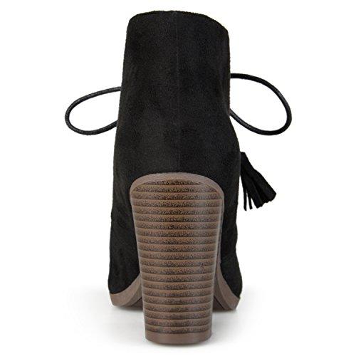 Journee Collection Bottines À Lacets En Daim Noires Pour Femmes