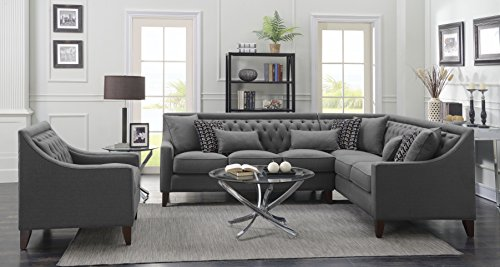 Iconic Home FSA2678-AN Chic Home Aberdeen Linen Tufted Down Mix Modern Contemporary Right Facing Sectional Sofa, Grey, ()