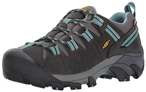 KEEN Women's Targhee II Outdoor Shoe, Black Olive/Mineral Blue, 8.5 M US (Dual Skies Tip)