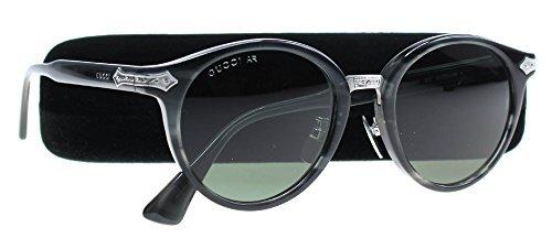 Gucci GG 0066S 003 Grey Horn Plastic Round Sunglasses Green - Gucci Acetate Sunglasses
