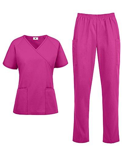 Strictly Scrubs Women's Classic Scrub Set (XS-3X, 14 Colors) - Includes Medical Uniform Mock Wrap Top and Pant Fuchsia (Uniformes Para Enfermeras)