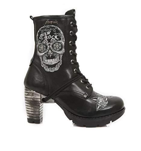 Botines Gótico Gris New Mujer tr048 Tacón Negro Urban Heavy Cremallera Cuero Punk Cordones M Chica Rock s1 Y8YZr