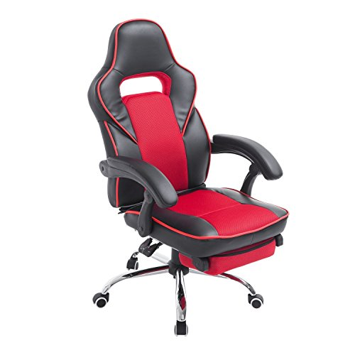 homcom race car style high back pu leather reclining office chair