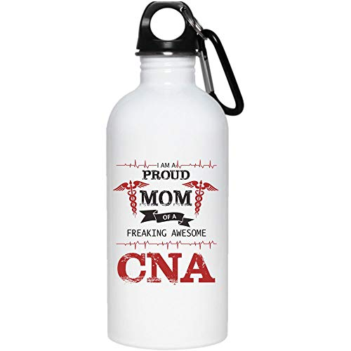 I'm A Proud Mom Of A Freaking Awesome CNA 20 oz Stainless Steel Bottle,Coolest Nurse Outdoor Sports Water Bottle (Stainless Steel Water Bottle - White)