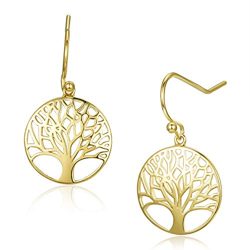 Agvana Yellow Gold Filled Tree of Life Minimalist Dangle Earrings Ideal Gifts For Women, Diameter 0.6""