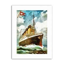 T.S.S TITANIC WHITE STAR LINE DISASTER WATERCOLOUR Poster Canvas art Prints