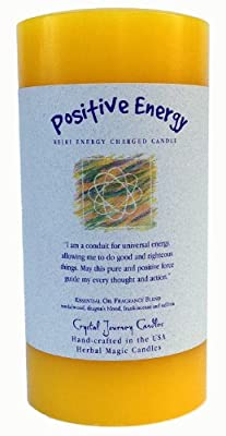 "6"" x 3"" Crystal Journey Herbal Magic Reiki Charged Pillar Candle, Positive Energy"