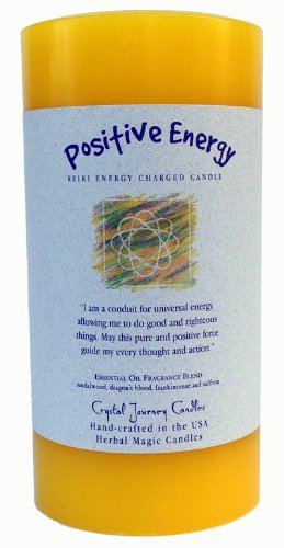6'' x 3'' Crystal Journey Herbal Magic Reiki Charged Pillar Candle, Positive Energy