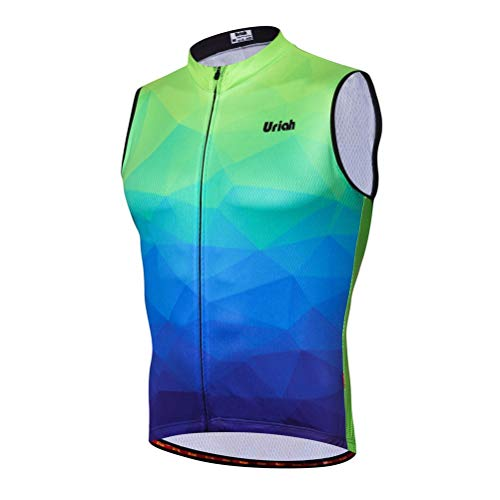 Uriah Men's Cycling Vest Reflective with Rear Zippered Bag Fluorescence Green Size M
